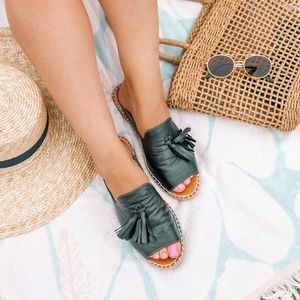 Black Espadrille Tassel Sandals